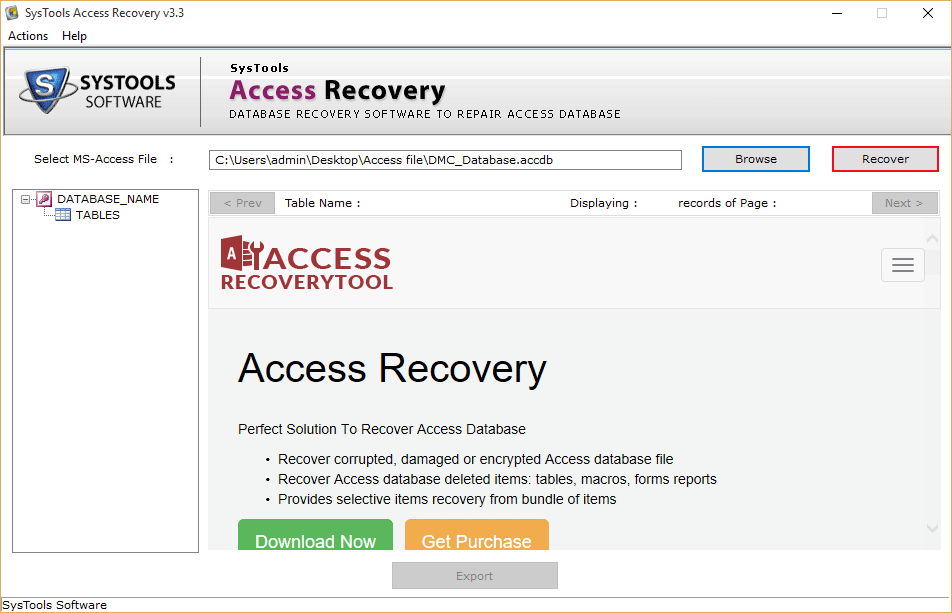 Click on Recover to Convert