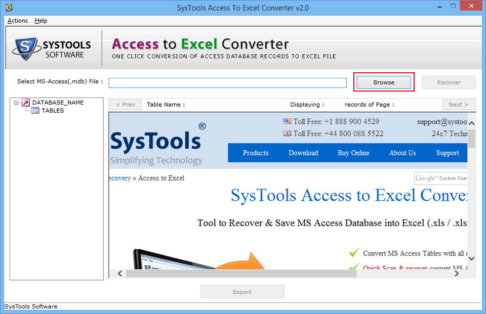 Browse Access file to Convert