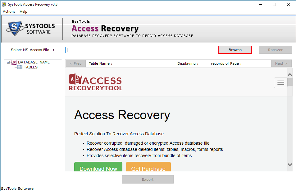 Browse corrupt access file